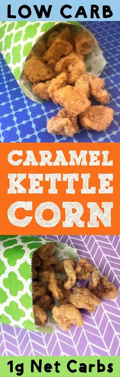 Low carb caramel kettle corn is a crispy, crunchy, salty and sweet snack with less than 1g of carbohydrate per serving. This snack is Ketogenic, Atkins, Banting, LCHF, THM-S, Grain Free, Gluten Free and Sugar Free. It's so tasty! #resolutioneats #lowcarb #keto #snack #caramel