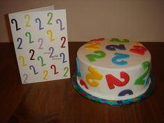 Eldest sons 2nd Birthday cake and matching card