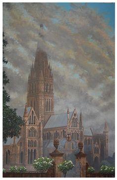 Salisbury Cathedral Painting - Salisbury by Dan Remmel Salisbury Cathedral, Fine Art America, Germany, England, Wall Art, Dan, Gallery, Prints, Painting