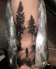 Forest and silhouette by Lou Bragg - Tattoo Designs Men Forest Tattoo Sleeve, Wolf Tattoo Sleeve, Leg Tattoos Small, Lower Arm Tattoos, Silhouette Tattoos, Forarm Tattoos, Body Art Tattoos, Xoil Tattoos, Tattoo Ink