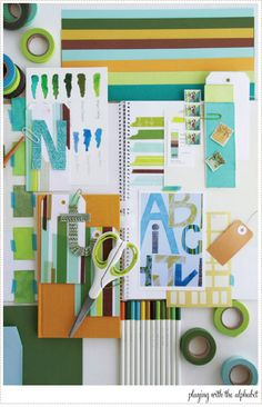 Blue and Green Inspiration board - A Creative Mint