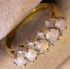 <3 Vintage Opal and Diamond 9 karat Yellow Gold Ring $215