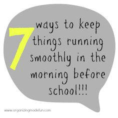 7 ways to keep things running smoothly in the morning before school - includes schedules, chore charts, and more!!