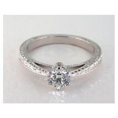 Designer Solitaire Diamond Engagement Ring in 6 Prong Setting