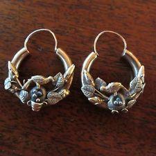 Victorian Aesthetic Bird Nest Antique 14K Yellow Gold Hoop Earrings
