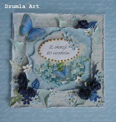 Drumla Art Butterfly Cards, Birthday Cards, Shabby Chic, Card Making, Birds, Frame, Butterflies, How To Make, Vintage