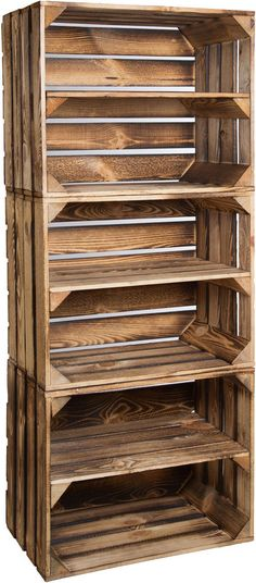 3x Solido geflammte Cassetta mele Scarpiera forziere in legno Obstkisten di vino