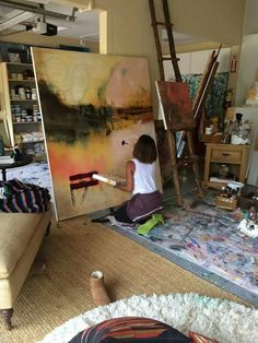 Jada Pickett Smith painting in her studio!