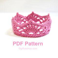 Crochet Newborn Princess Crown Tiara Pattern PDF N59 by lanadearg