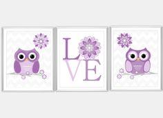 Baby Nursery Wall Art Purple Gray Owls Flower by dezignerheart, $25.00