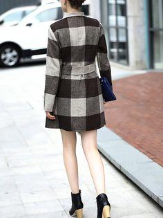 Gray Checkered V-neck Short Trench Coat - StyleWe.com