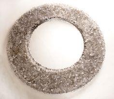 "W O W -- Round Rock Crystal Mirror  40"" Diameter, 9"" Frame"