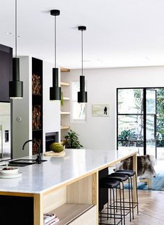 black pendant lights kitchen
