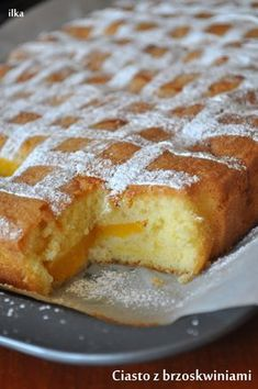 In my coffee kitchen: Cake with peaches Pie Recipes, Sweet Recipes, Dessert Recipes, Cooking Recipes, Polish Desserts, Vegetarian Pasta Recipes, Sweets Cake, Almond Cakes, Pumpkin Cheesecake