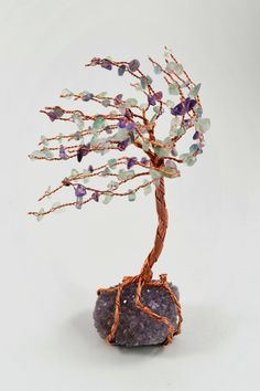 Amethyst Cluster Copper Wire Windswept Tree of Life with Fluorite Crystal Leaves Home Decor Reiki Healing Crystals Wire Art Tree Sculpture