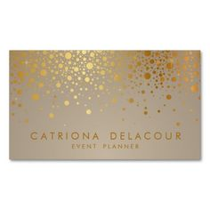 Faux Gold Foil Confetti Dots Modern Business Card - A pretty, fun, and girly BUSINESS CARD that is great for a photographer, blogger, designer, event planner or any girl who is looking for something unique to hand out to potential customers. Order these and I bet your sales will sky rocket!