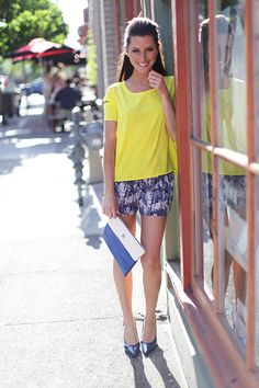 bright top and shorts