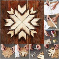 AMAZING BURNT MATCHSTICK STAR TO DECORATE YOUR WALL, PATTERN AND HOW TOOS