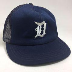 4417d9fca0bc4 Detroit Tigers Baseball Hat Magnum P.I. Selleck VTG 80 s Trucker Snapback  Cap