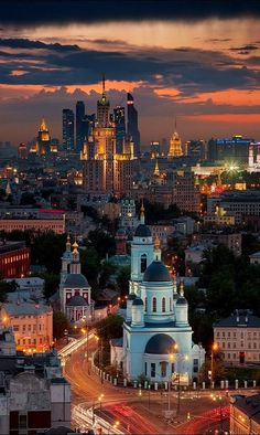 Moscow ~ Sunset from the roof of skyscrapers in the Square of Lenin, Russia