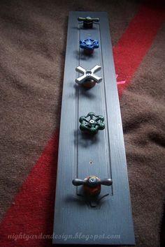 An Amzain Idea Repurposed Faucet Handle Coat Racks and Tool Racks Repurposed Items, Repurposed Furniture, Coat Hanger, Coat Racks, Towel Hanger, Tool Rack, Night Garden, Faucet Handles, Old Tools