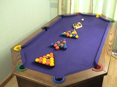 After seeing that there's such thing as an L-shaped pool table recently, I wondered what other billiardy nonsense was out there. Diy Pool Table, Custom Pool Tables, Billard Table, Club Sportif, Billiards Bar, Sports Man Cave, Ultimate Man Cave, Pool Cues, Indoor Games