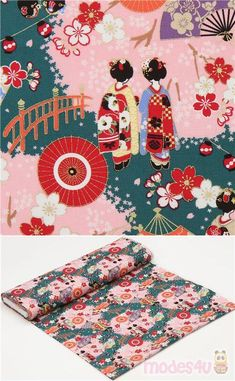 "dark green, pink cotton sheeting fabric with geishas, fans, sakura flower etc., with metallic gold embellishment, Material: 100% cotton, Pattern Repeat: ca. 30cm (11.8"") #Cotton #People #Metallic #JapaneseFabrics"