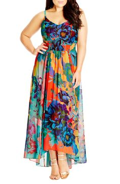 Free shipping and returns on City Chic 'Hot Summer Days' Print High/Low Maxi Dress (Plus Size) at Nordstrom.com. A bold floral print washed in vivacious color makes this airy chiffon maxi a sun-loving standout. Styled with a décolleté neckline, a fitted waist eased with smocking and a floaty A-line skirt, it makes the most of your lovely curves.