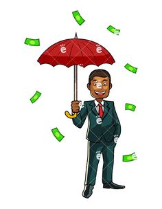 A Black Man Holding An Umbrella While Money Rain Down On Him:  #abundance #affluence #affluent #african #african-american #american #bigshot #black #bucks #business #businessman #capital #capitalist #cartoon #cash #character #clipart #darryl #deeppockets #dollars #drawing #entrepreneur #euros #finance #financial #fortunate #fortune #funds #graphic #greenback #illustration #image #individual...