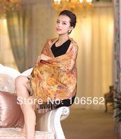 Top Design women winter scarf hand painted100% mulberry silk double silk velvet tassels warm wide shawl 55*190cm pastoral yellow