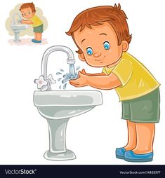 Buy Boy Washes His Hands with Water by vectorpocket on GraphicRiver. Vector illustration of a little boy washes his hands with water from a tap. Hand Washing Poster, Art And Illustration, Kids Canvas Art, Flashcards For Kids, Water Drawing, Grande Section, Teaching Aids, School Decorations, Cartoon Pics