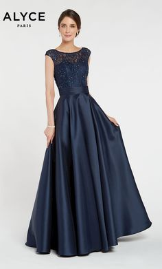 Alyce Paris Style 27243 Long mikado ballgown with a boat neckline, embellished bodice and pockets Mother Of The Bride Gown, Mother Of Groom Dresses, Mothers Dresses, Pageant Dresses, Homecoming Dresses, Bridesmaid Dresses, Navy Blue Wedding Dresses, Pink Dresses, Prom Dress