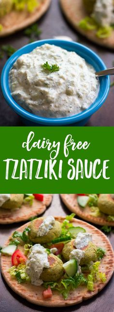 Dairy Free Tzatziki Sauce: A super flavorful Mediterranean sauce made with garlic, dill and cucumber. Perfect with Falafel!