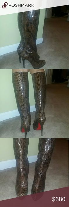 Christian Loubitin python limited edition boots Preowned limited edition  real python high end bad azz boots! Size 40 but please kow your Louboutin shoe boot size!!!boots are in excellent condition and 100% authentic!!!has a dust bag... Christian Louboutin Shoes Heeled Boots