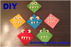 Hi Hi, Here I show you how to make a book monster (bookmark). It is a very easy technique but that is why it is so much fun to make. Bookmark Craft, Bookmarks, Diy And Crafts, Arts And Crafts, Paper Crafts, Diy For Kids, Crafts For Kids, Monster Bookmark, Class Decoration