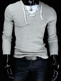 New Spring Hot Fashion Men Long Sleeve Solid V-neck T-shirt Male Cotto - Hot100Fashions