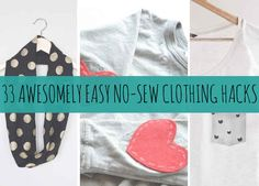 Sewing Clothes 41 Awesomely Easy No-Sew DIY Clothing Hacks - No needle and thread? No problem! Diy Clothes Videos, Clothes Crafts, Sewing Clothes, Sewing Hacks, Sewing Crafts, Sewing Projects, Diy Projects, Sewing Diy, Costura Diy
