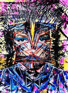 Combinatie van verschillende technieken. Acryl op papier gecombineerd met een collage.