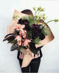 Dramatic fall and winter bouquet - Flowers and Floral Arrangements - Dark Flowers, Fresh Flowers, Pretty Flowers, Floral Flowers, Prettiest Flowers, Pink And Purple Flowers, Big Flowers, Wedding Flower Arrangements, Floral Arrangements