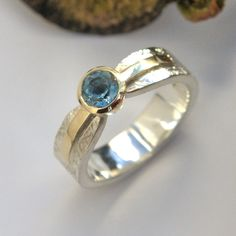 Aquamarine silver and gold ring Gold And Silver Rings, Silver Jewelry, Bespoke Jewellery, Bronze Sculpture, Metal Working, Gemstone Rings, Luxury, Metalworking, Silver Jewellery