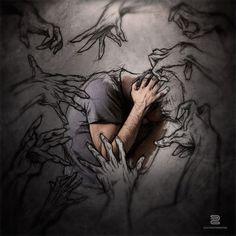 A piece of fine art art photography titled The Sketches Inside Me II by Sebastien DEL GROSSO Dark Art Drawings, Art Drawings Sketches, Arte Horror, Horror Art, Mental Health Art, Ap Studio Art, Sad Art, A Level Art, Art Sketchbook