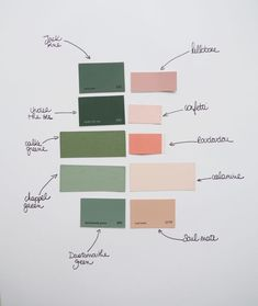 Harmoniser les couleurs Moodboard rose et vert / Green and pink moodboard Bedroom Colour Palette, Green Colour Palette, Bedroom Colors, Bedroom Decor, Green Colors, Deco Rose, Bedroom Green, Colour Board, Colour Schemes
