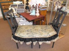 SOLD - Unique bench made from 2 vintage lyre back chairs with upholstered seat.  ***** In Booth D8 at Main Street Antique Mall 7260 E Main St (east of Power RD on MAIN STREET) Mesa Az 85207 **** Open 7 days a week 10:00AM-5:30PM **** Call for more information 480 924 1122 **** We Accept cash, debit, VISA, MasterCard or Discover.