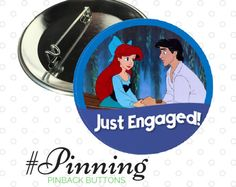 Just Engaged Button | The Little Mermaid | Ariel and Prince Eric Pinback Button | Disney