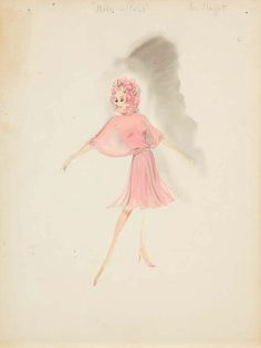 Helen Rose costume sketch for Ann-Margret from Made in Paris