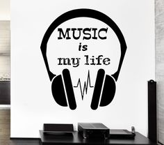 Wall Decal Headphones Music Is My Life Cool Decor For Bedroom from $21.99