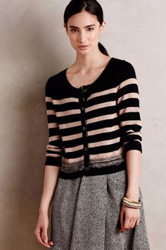 Anthropologie Stripe Knit Cardigan by Moth - Sz S, L (Black / Green) #Moth #Cardigan