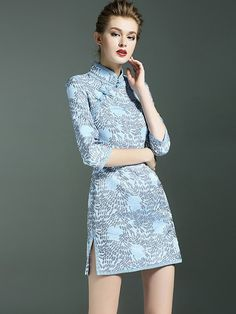 Dream Blue Floral Qipao / Cheongsam Dress with Half Sleeves