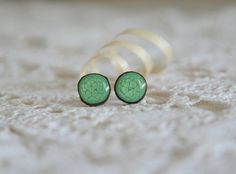 Green wooden earrings wooden studs sterling by MyPieceOfWood