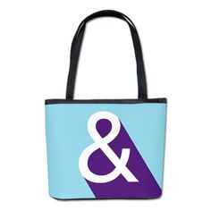 Ampersand - Blue and Purple Bucket Bag. Fun typography gift idea for a graphic designer.